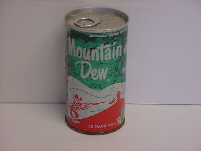 Vintage Mountain Dew Hillbilly Straight Steel Pull Tab Bottom Opened Soda Can