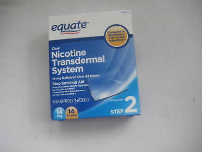 Equate Nicotine Transdermal System Step 2 Clear Patch 14 mg 14 Patches SEALED
