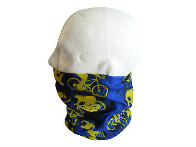 Neck/Face Warmer Tube Bandana Bike Pattern Microfibre Blue/Yellow