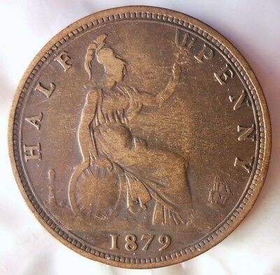 1879 GREAT BRITAIN 1/2 PENNY - Scarce Victorian Coin -Free Ship - Britain Bin #B