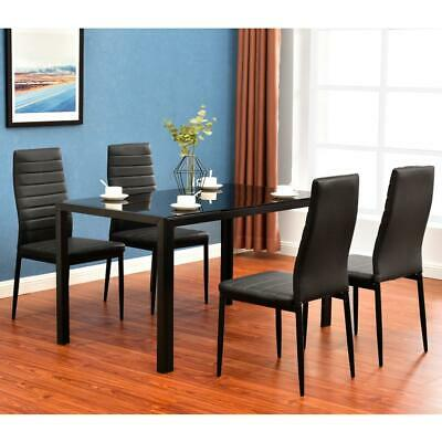 5 Piece Dining Table Set 4 Chairs Different style tables Glass Metal Furniture