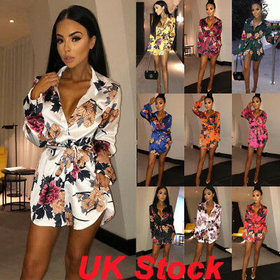 Womens Ladies Bandage Cocktail Evening Party Mini Dress Floral Tuxedo Satin Tops