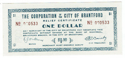 Corporation of City of Brantford 1 dollar Relief Certificate