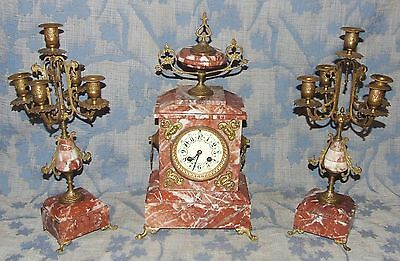 French Antique Rouge Marble Bracket / Mantel Clock Garniture Set : A.D. MOUGIN