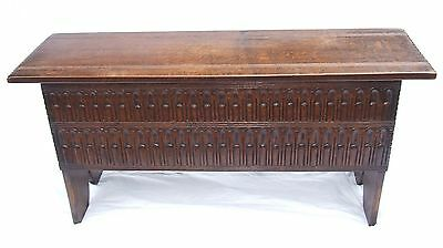 Antique Style Carved Oak 6 Plank Sword Chest Coffer / Blanket Box / Laundry Box