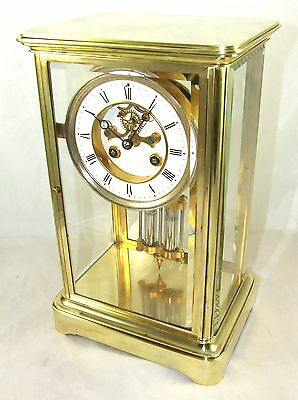 Antique MARTI Four Glass Brass Striking Bracket Mantel Clock Visible Escapement