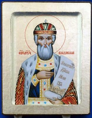 Russian Religious Orthodox Holy Christian Wood Icon Certificate to Reverse