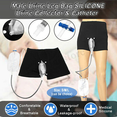 Incontinence Male Silicone Urine Collector & 500ml Leg Bag Set Upgrade S M L