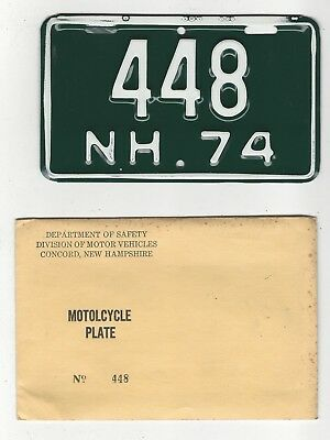 1974 NEW HAMPSHIRE  MOTORCYCLE License Plate 74 NH MC Tag  448  NOS w Envelope