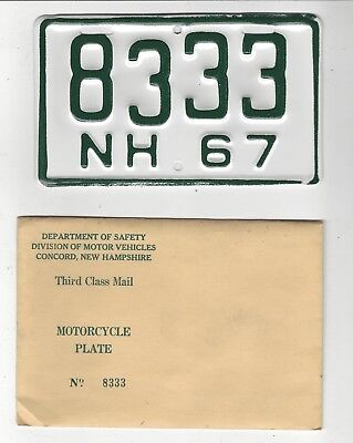 1967 NEW HAMPSHIRE  MOTORCYCLE License Plate 67 NH MC Tag  8333  NOS w Envelope