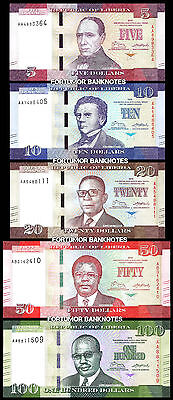 Liberia 5 Pcs Set 5 10 20 50 100 Dollars 2016 Unc P-New Same Last 2 Serial Match