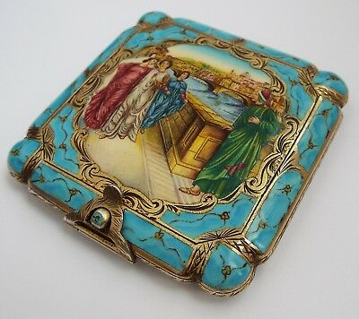 FABULOUS QUALITY VERY RARE FRENCH ANTIQUE c1910 SOLID SILVER & ENAMEL COMPACT
