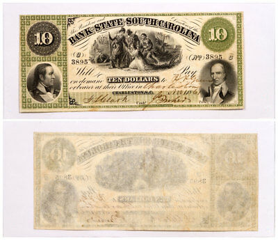 1861 $10 Obsolete Bank note - State of South Carolina Columbia F-XF SKU51578