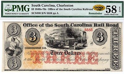 South Carolina - Office SC RR - $3.00 - PMG Choice About Unc 58 EPQ - CHOICE!