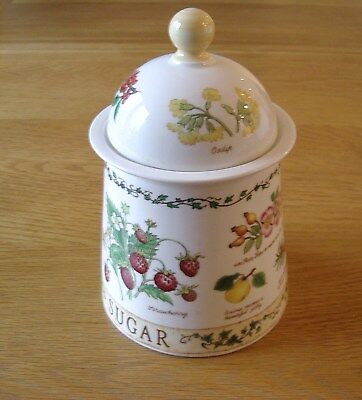 """Dunoon Stoneware """"Sugar"""" Storage Jar With Cover—Nature Trail Pattern."""