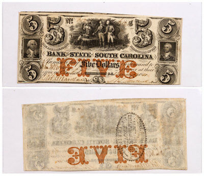 1861 $5 Obsolete Bank note - State of South Carolina Columbia F-VF SKU51583