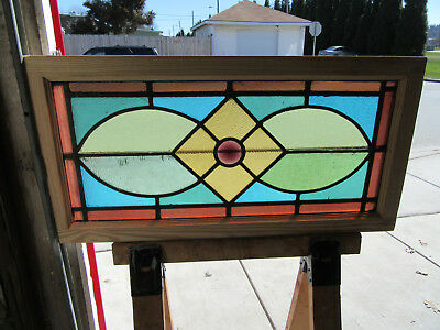 ~ ANTIQUE STAINED GLASS TRANSOM WINDOW ~ 40 x 20 ~ ARCHITECTURAL SALVAGE