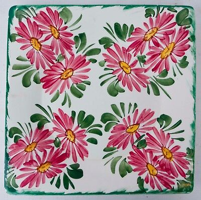 """VINTAGE Hand Painted Ceramic Floral Decor Square Platter Made In Italy 12 1/2"""""""