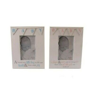 4 x 6 Baby Photo Frame Pink Or Blue Bunting Boy or Girl Freestanding Christening