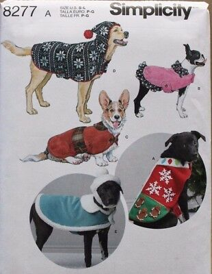 DOG COATS & HATS Simplicity Sewing Pattern 8277 NEW S-M-L - $4.99 ...