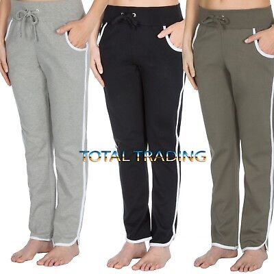 Ladies Jog Pants jogging womens Joggers Bottoms Gym Training cotton 1  stripe