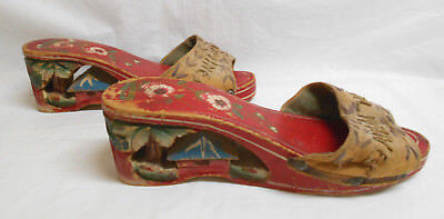 "1940s WOMENS HAND MADE PAINTED ""PHILIPPINES"" CARVED WOOD WEDGE HEEL MULE SHOES"