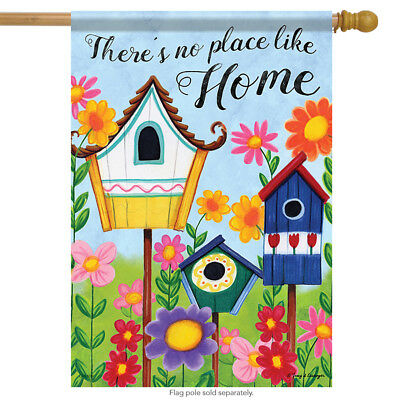 "Birdhouses Spring Floral House Flag Summer Flower 2 Sided  28"" x 40"""