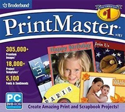 PRINTMASTER 18.1 DVD  Cards Labels Newsletters Greeting Cards Photo Editing  NEW