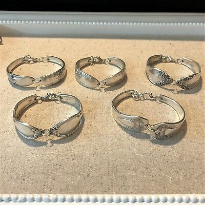 Mixed Lot of 5 Handcrafted Antique Spoon Bracelets