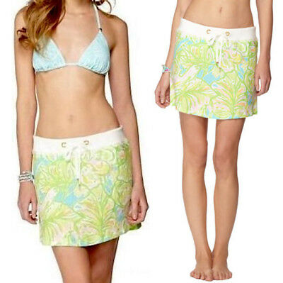 Lilly Pulitzer Hayden Beach Skirt Shorley Blue Ice Cake Large Women's Clothing Clothing, Shoes & Accessories