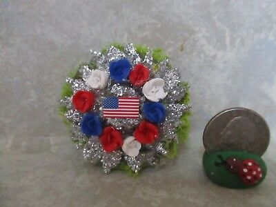 """Miniature Doll/dollhouse/roombox 1 3/4"""" EXTRA SPARKLY Patriotic Wreath"""