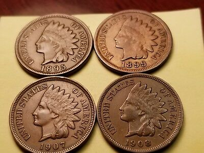 Lot Of 4 Indian Cents Higher Grade Circulated 1895. 1899, 1907,& 1908