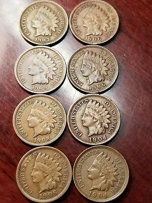 LOT OF 8 INDIAN CENTS HIGHER GRADE CIRCULATED MIXED DATES 1900's