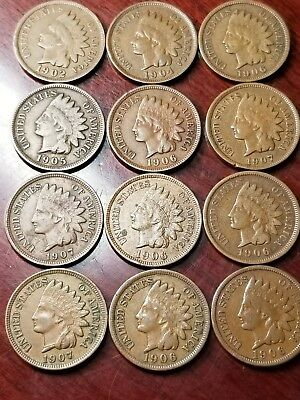 LOT OF 12 INDIAN CENTS HIGHER GRADE CIRCULATED MIXED DATES 1900's