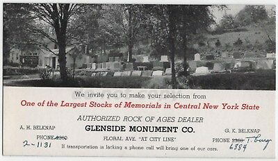Ithaca NY Glenside Monument Vintage Blotter Cemetery Grave Tombstone Mourning