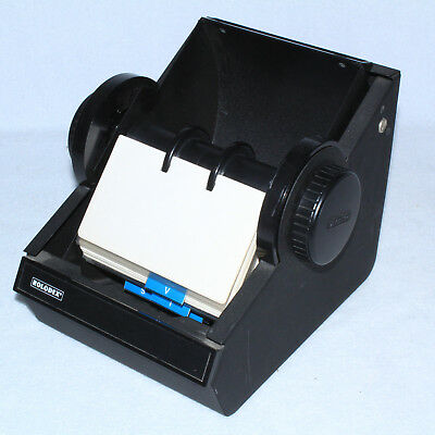 Vintage Rolodex rotary black metal card file round USA industrial heavy w/ Cards