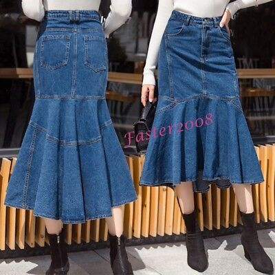9c5a29cea1 Chic Women s Denim Mermaid Dress Flared Skirts Party Long Ruffled Jeans  Skirts