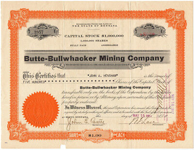 1917 SILVER BOW CO. MONTANA Butte Bullwhacker Mining Company Stock Certificate