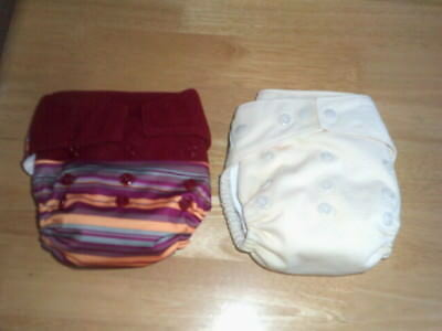 2 Euc Aio Hybrid Grovia Baby One Size Cloth Diapers In Multi & Yellow W/ Inserts