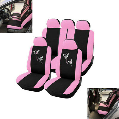 Pink Women 5-Seat Car Seat Cover Protector Cushion Full Set Butterfly Embroidery