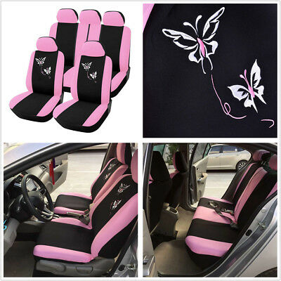 Hot Butterfly Embroidery Pink 5-Seat Car Seat Cover Protector Cushion Universal