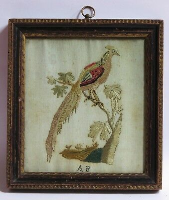 ANTIQUE GEORGIAN SMALL NAIVE SILK CHILDS EMBROIDERY of BIRD - 18TH C PRIMITIVE