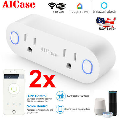 2x WiFi Smart US Plug Dual Outlet Socket Wall Switch Work With Alexa Google Home
