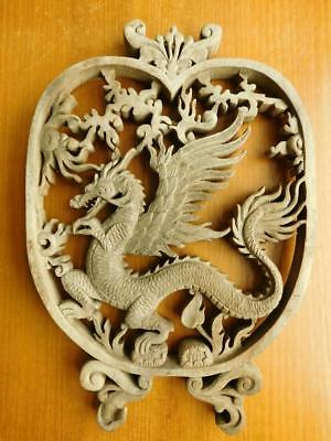 Antique Carved Wood Chinese Openwork Dragon Plaque Wall Sculpture Hanging 1900s