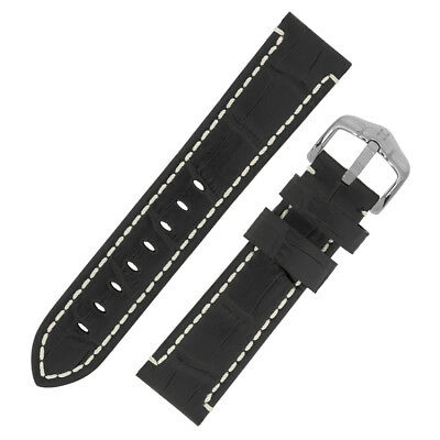 Hirsch KNIGHT Alligator Embossed thick calf Leather Watch Strap BLACK white