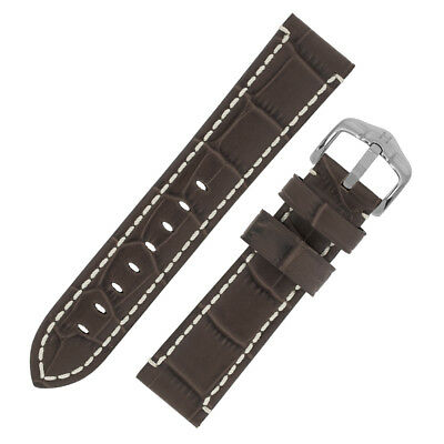 Hirsch KNIGHT Alligator Embossed Leather thick hand stitched Watch Strap BROWN