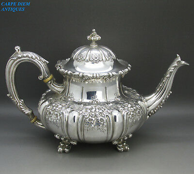 ANTIQUE ORNATE LARGE HEAVY SOLID STERLING SILVER EMBOSSED TEAPOT 1084g USA c1900