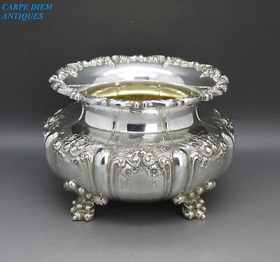 ANTIQUE WONDERFUL LARGE HEAVY SOLID STERLING SILVER SUGAR BOWL, 568g, USA c1900
