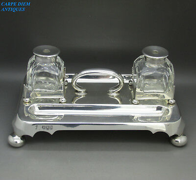 ANTIQUE VICTORIAN BEAUTIFUL SOLID STERLING SILVER INKSTAND, 818g, SHEFFIELD 1898