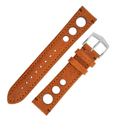 Hirsch RALLY Natural Perforated Racing Calf Leather Watch Strap in GOLD BROWN